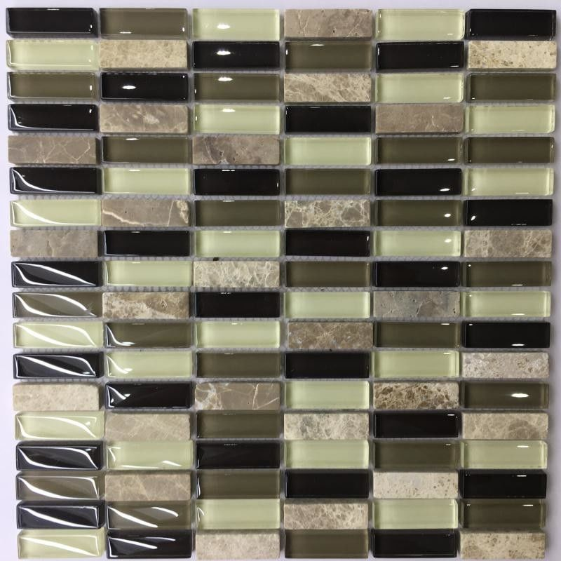 Iridescent Crystal Ceramic Mosaic Tiles Washable Easy To Install